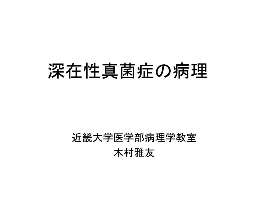 深在性真菌症の病理 近畿大学医学部病理学教室 木村雅友