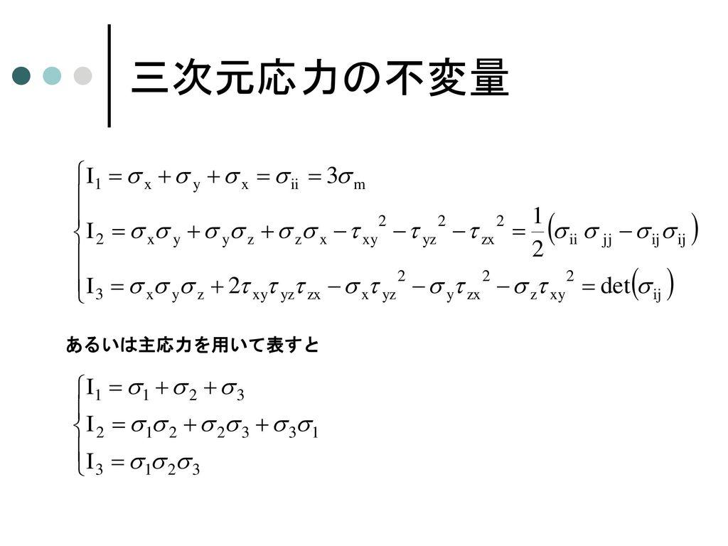 三次元応力行列と主応力 今考えている面を主応力 s がはたらく主応力面とすると 上式が nj=0 以外の解をもつためには 上式を展開すると
