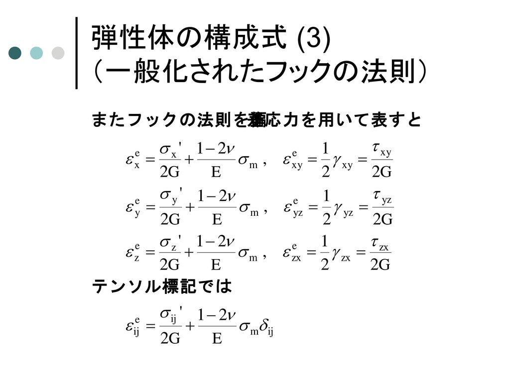 弾性体の構成式 (2) (一般化されたフックの法則)