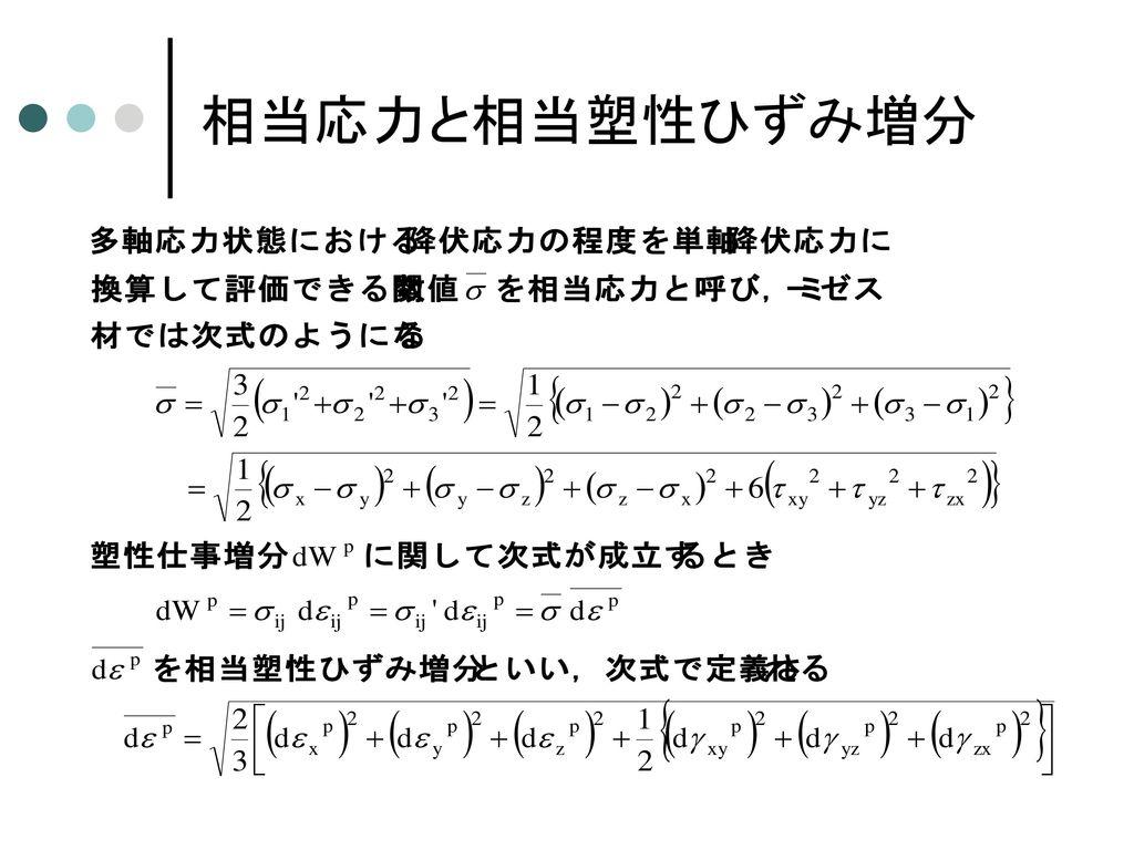 弾塑性体の構成式 (Prandtle-Reussの式)