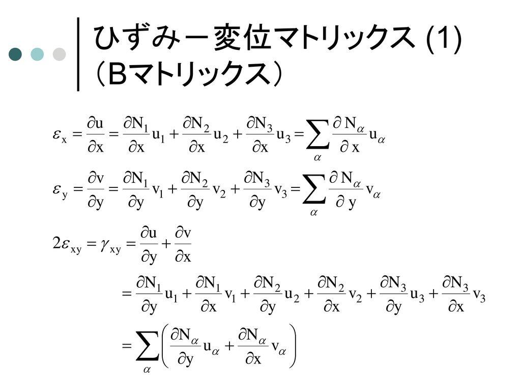 弾性FEM定式化の流れ (1) 釣合方程式 (3) 変分原理 ガウスの発散定理 (5) 形状関数 (2) 仮想仕事の原理式