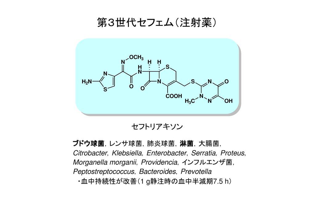 第3世代セフェム(注射薬) セフトリアキソン ブドウ球菌,レンサ球菌,肺炎球菌,淋菌,大腸菌,
