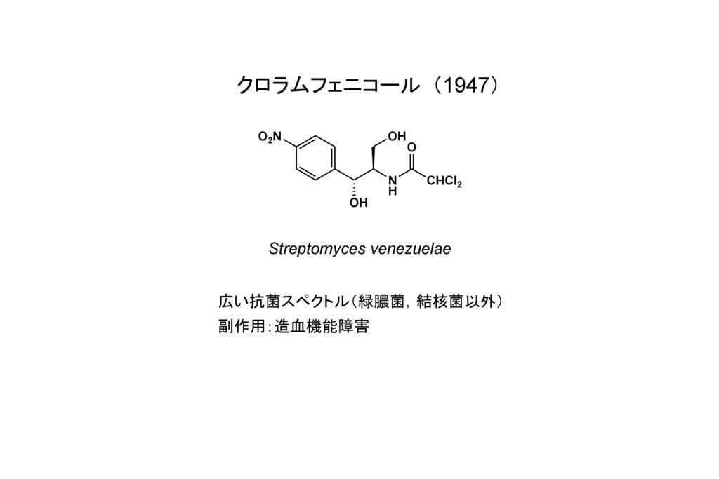 クロラムフェニコール(1947) Streptomyces venezuelae 広い抗菌スペクトル(緑膿菌,結核菌以外)
