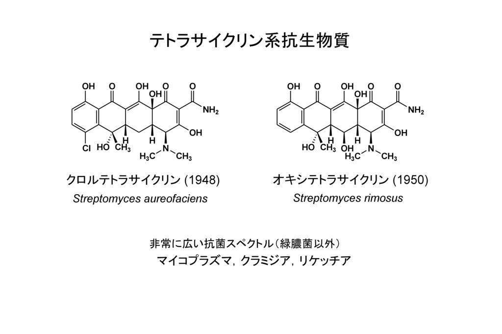 テトラサイクリン系抗生物質 クロルテトラサイクリン (1948) オキシテトラサイクリン (1950)