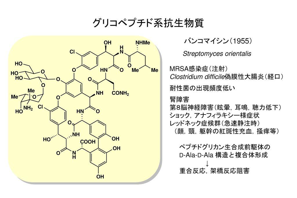 グリコペプチド系抗生物質 バンコマイシン(1955) Streptomyces orientalis MRSA感染症(注射)