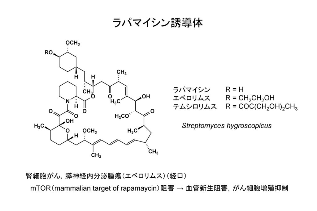 ラパマイシン誘導体 ラパマイシン エベロリムス テムシロリムス R = H R = CH2CH2OH R = COC(CH2OH)2CH3