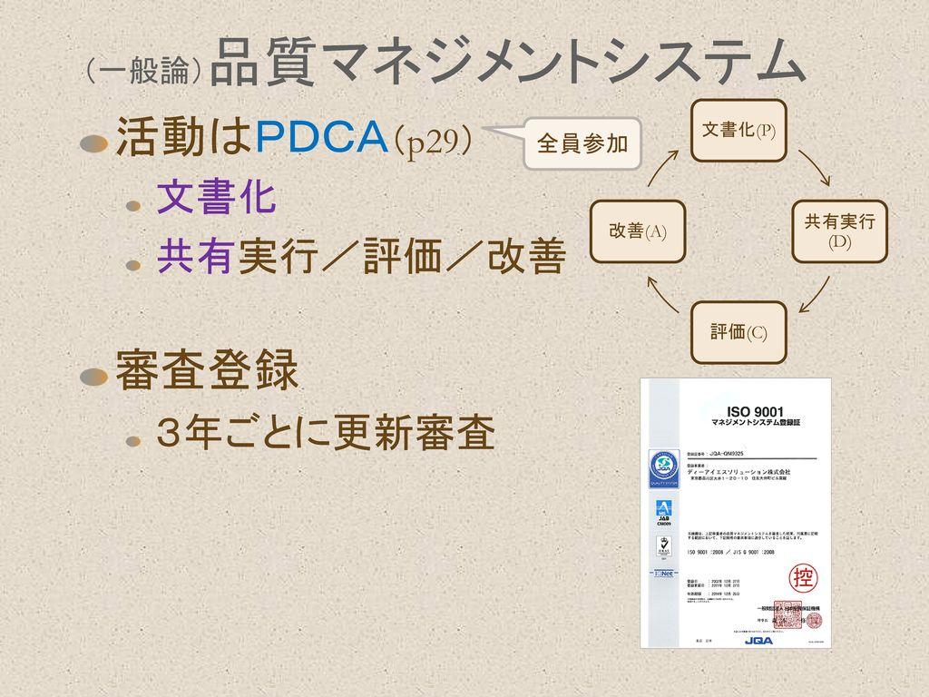 活動はPDCA(p29) 審査登録 文書化 共有実行/評価/改善 3年ごとに更新審査 (一般論)品質マネジメントシステム 全員参加