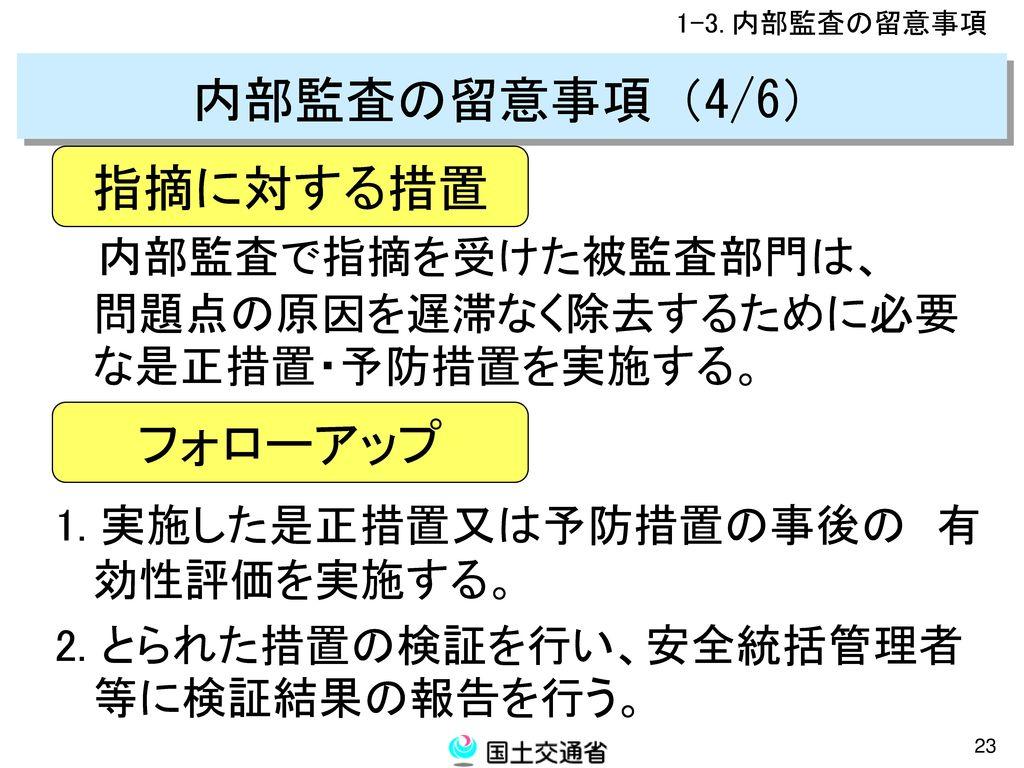 内部監査の留意事項(4/6) 指摘に対する措置 フォローアップ