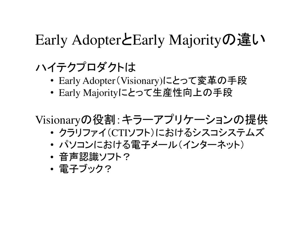 Early AdopterとEarly Majorityの違い