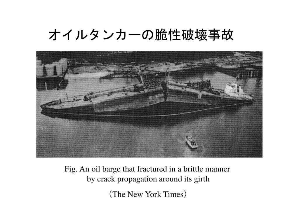 オイルタンカーの脆性破壊事故 Fig. An oil barge that fractured in a brittle manner