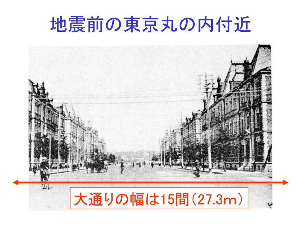 地震前の東京丸の内付近 大通りの幅は15間(27.3m)