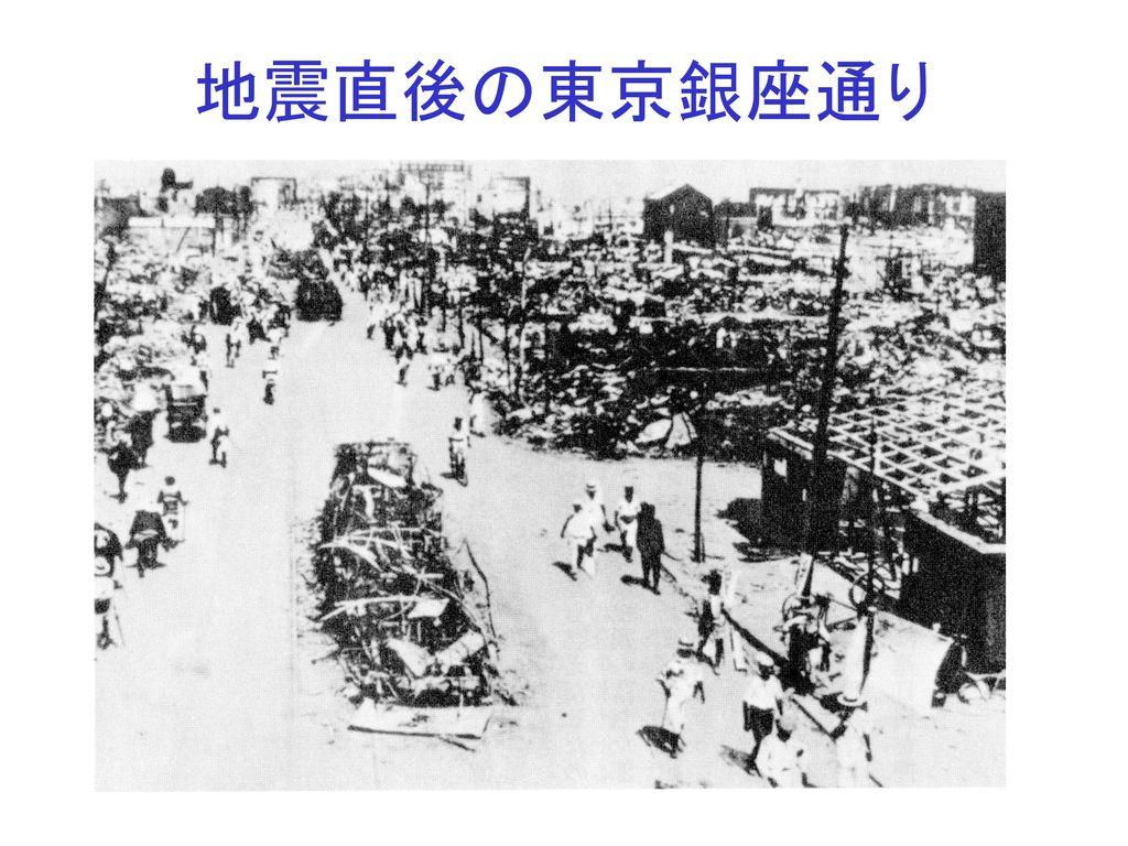 地震直後の東京銀座通り
