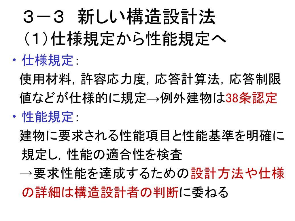 3-3 新しい構造設計法 (1)仕様規定から性能規定へ