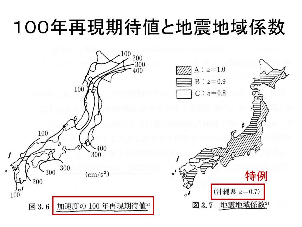 100年再現期待値と地震地域係数 特例