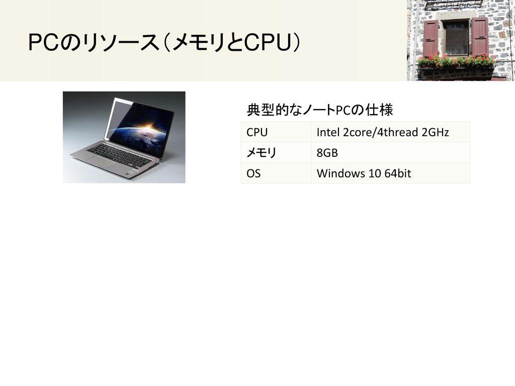 PCのリソース(メモリとCPU) 典型的なノートPCの仕様 CPU Intel 2core/4thread 2GHz メモリ 8GB OS