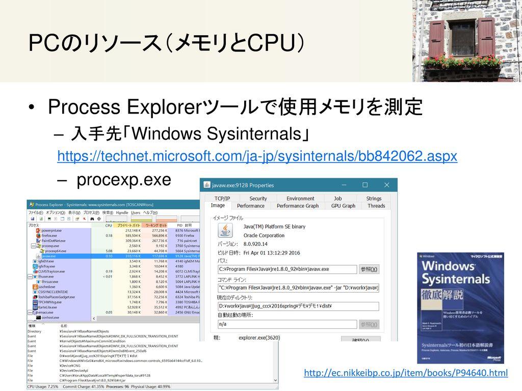 PCのリソース(メモリとCPU) Process Explorerツールで使用メモリを測定