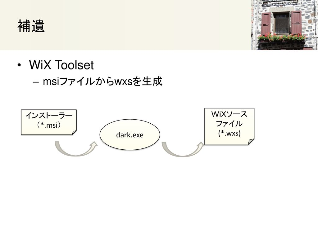 補遺 WiX Toolset msiファイルからwxsを生成 WiXソース インストーラー ファイル (*.msi) (*.wxs)