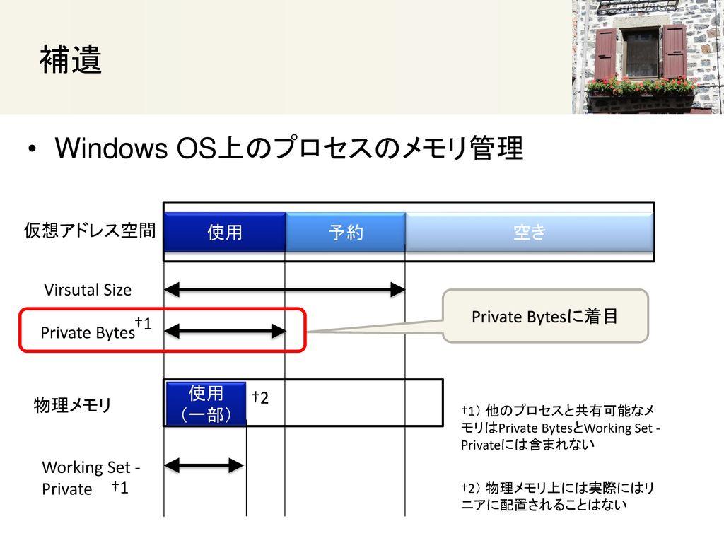 補遺 Windows OS上のプロセスのメモリ管理 仮想アドレス空間 使用 予約 空き Virsutal Size