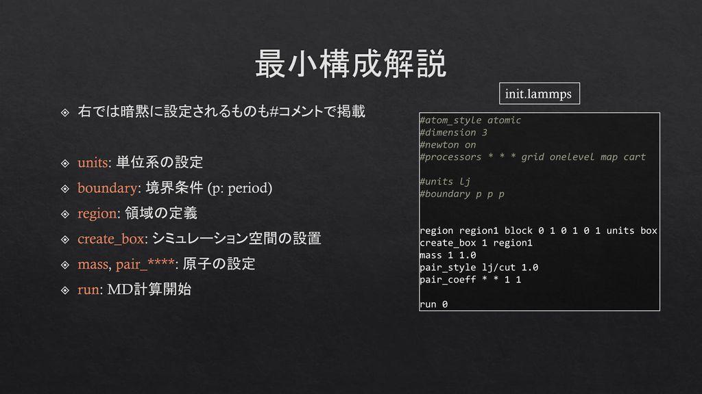 最小構成解説 右では暗黙に設定されるものも#コメントで掲載 units: 単位系の設定 boundary: 境界条件 (p: period)