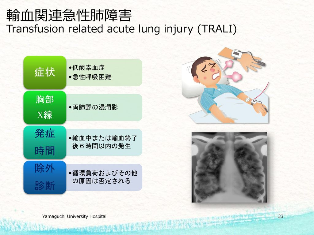 輸血関連急性肺障害 Transfusion related acute lung injury (TRALI)