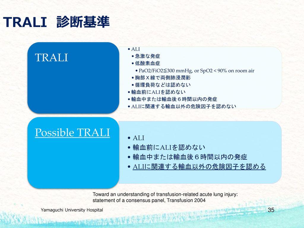 TRALI 診断基準 TRALI Possible TRALI ALIに関連する輸血以外の危険因子を認める ALI 急激な発症 低酸素血症