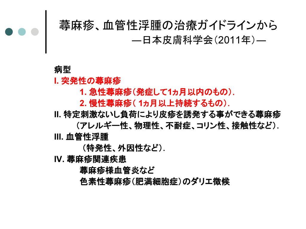 蕁麻疹、血管性浮腫の治療ガイドラインから ―日本皮膚科学会(2011年)―