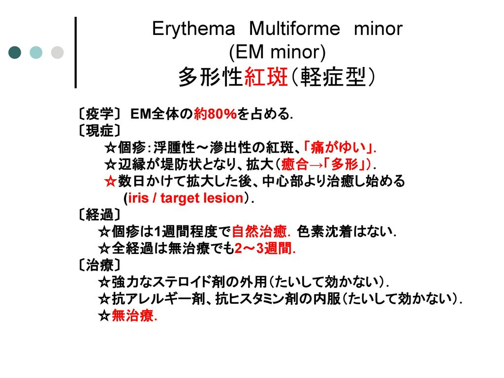 Erythema Multiforme minor (EM minor) 多形性紅斑(軽症型)