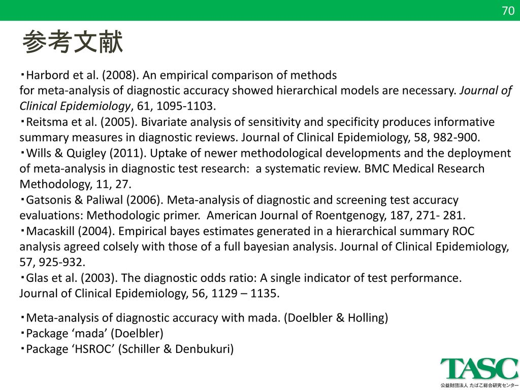 参考文献 70 ・Harbord et al. (2008). An empirical comparison of methods