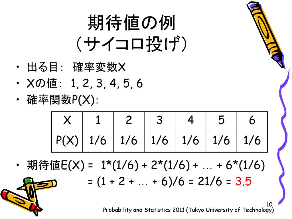 Probability and Statistics 2011 (Tukyo University of Technology)
