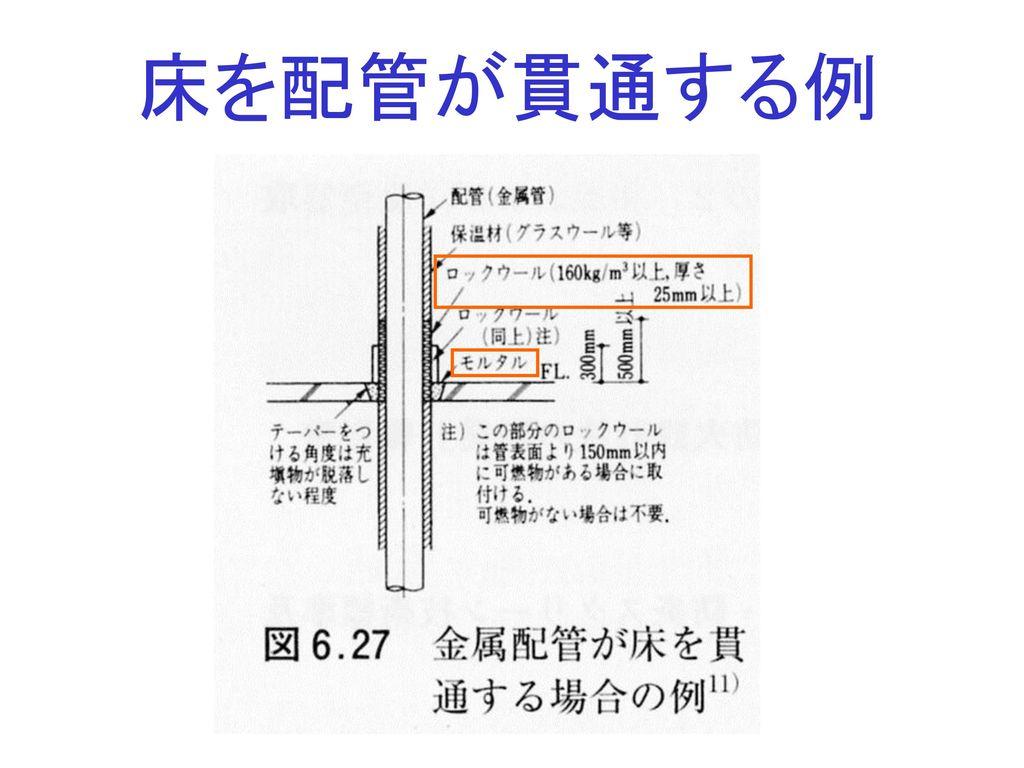 床を配管が貫通する例