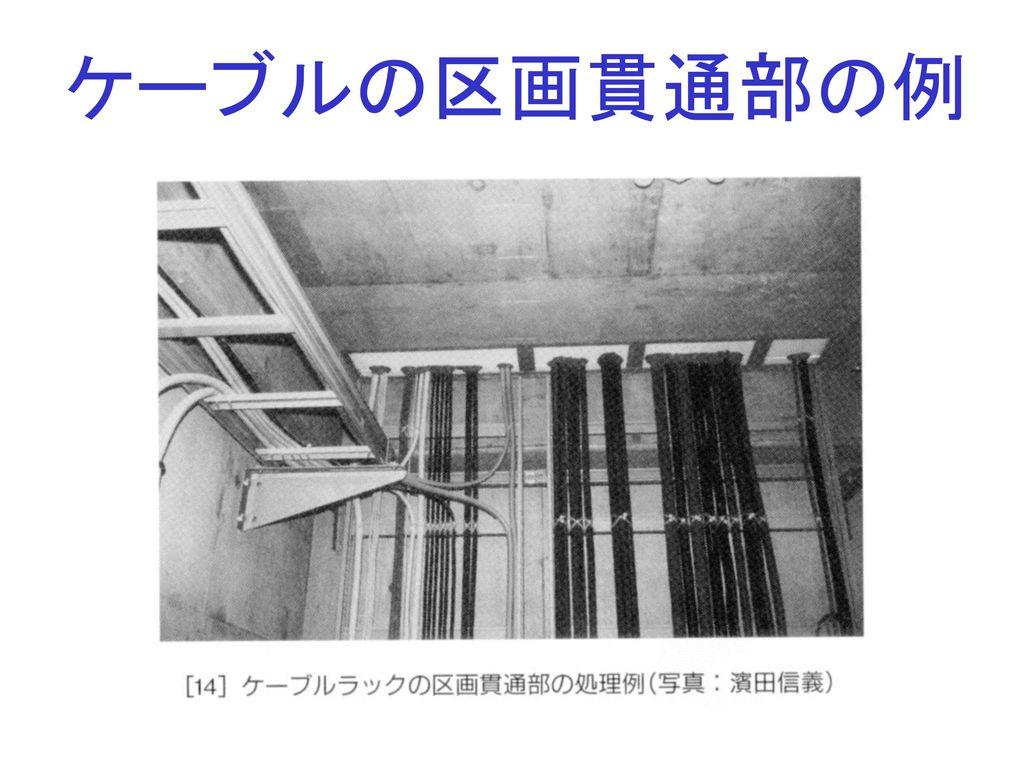 ケーブルの区画貫通部の例