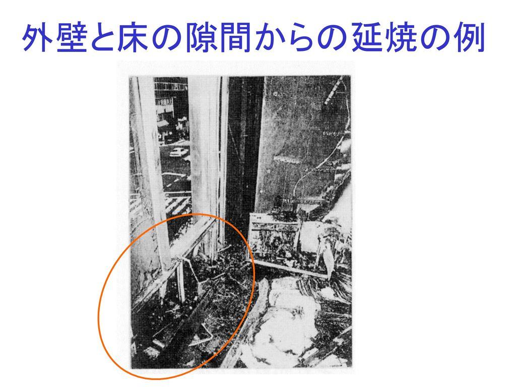 外壁と床の隙間からの延焼の例