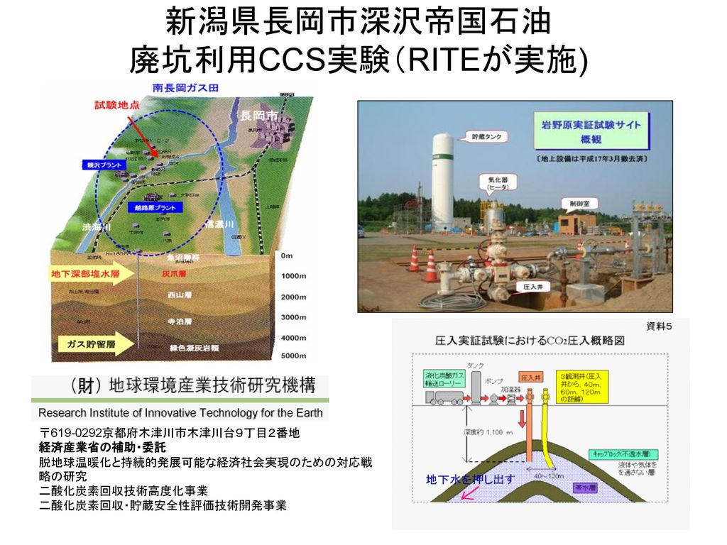 新潟県長岡市深沢帝国石油 廃坑利用CCS実験(RITEが実施)