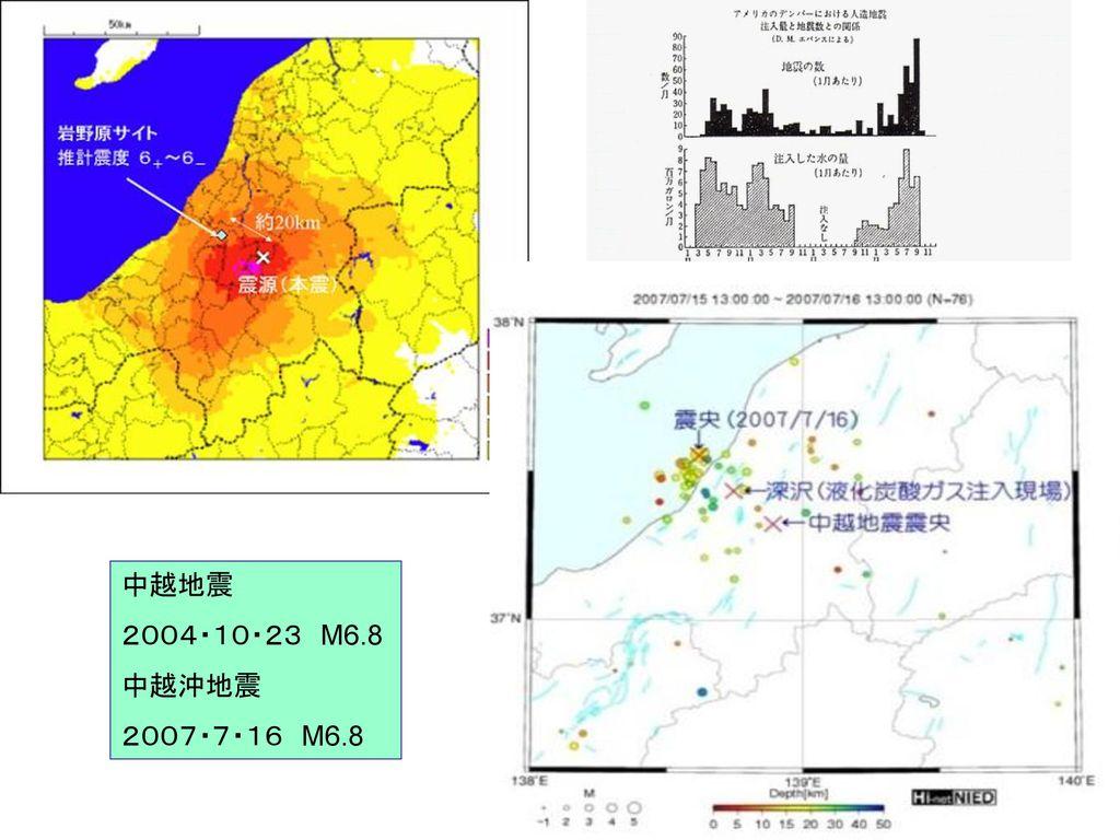 中越地震 2004・10・23 M6.8 中越沖地震 2007・7・16 M6.8