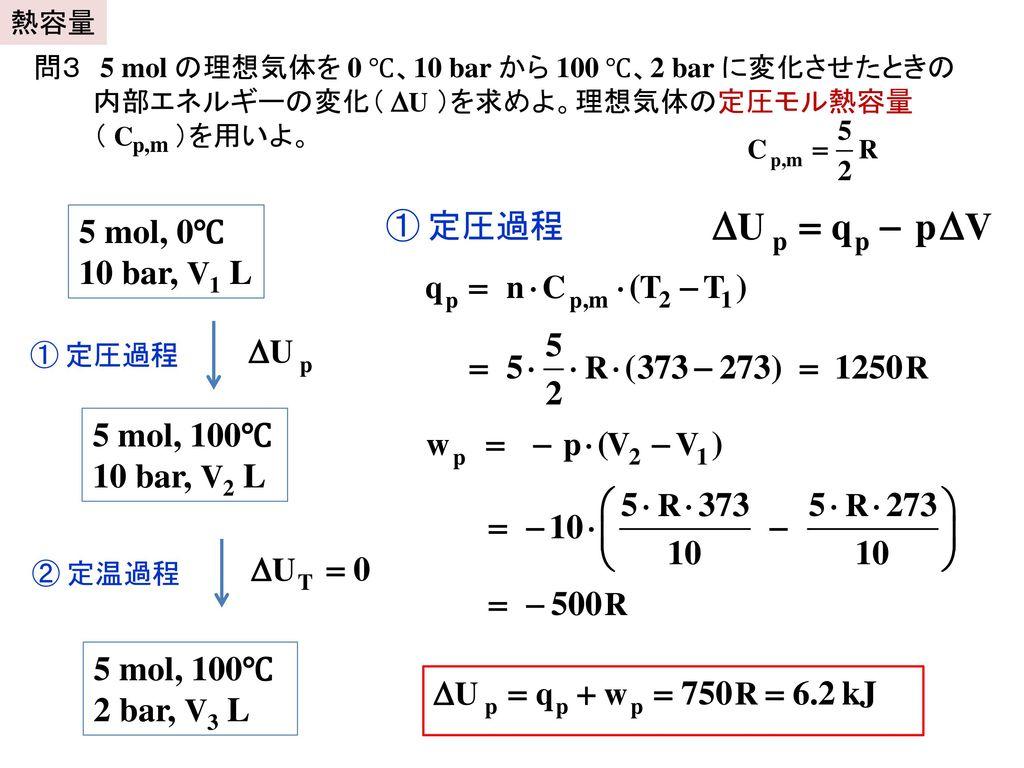 ① 定圧過程 5 mol, 0℃ 10 bar, V1 L 5 mol, 100℃ 10 bar, V2 L 5 mol, 100℃