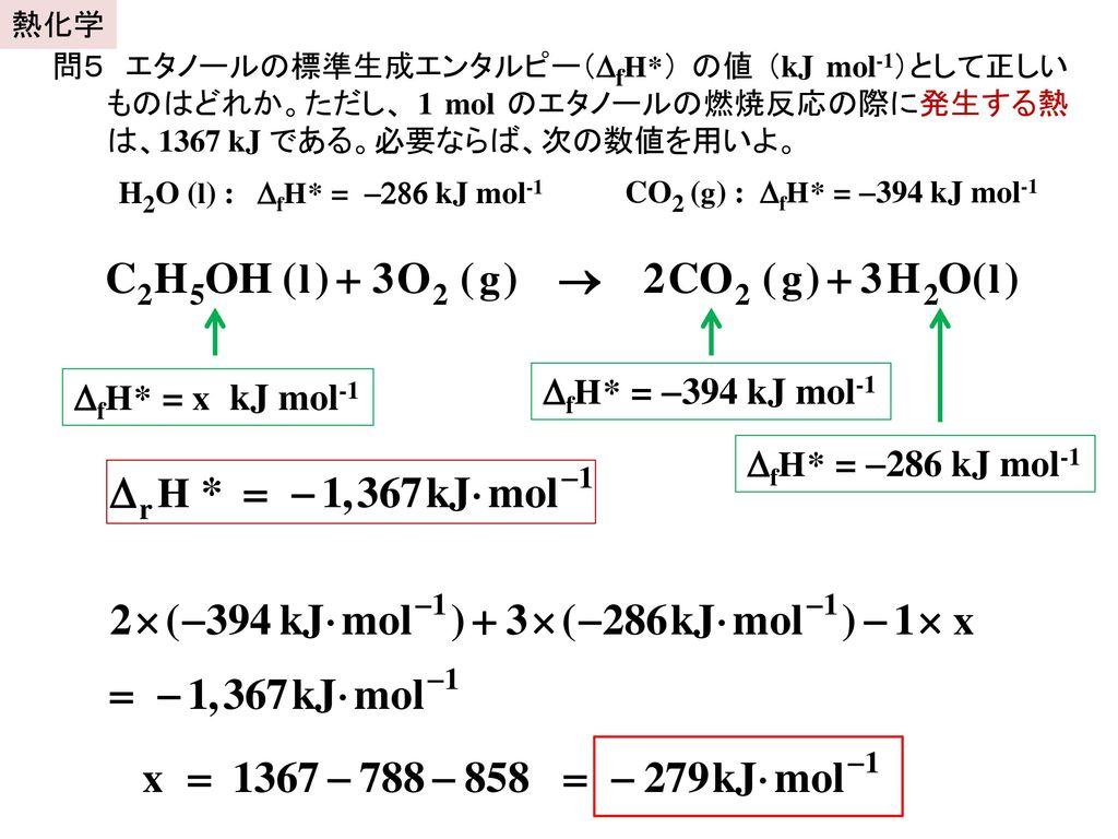 DfH* = -394 kJ mol-1 DfH* = x kJ mol-1 DfH* = -286 kJ mol-1 熱化学