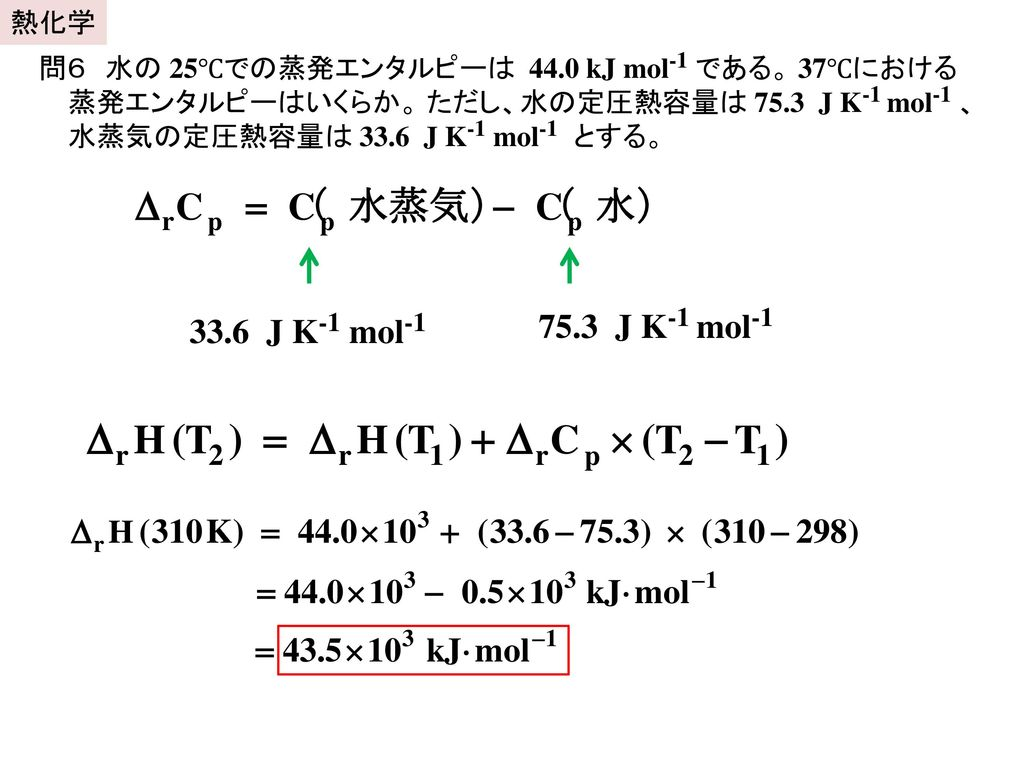 熱化学 問6 水の 25℃での蒸発エンタルピーは 44.0 kJ mol-1 である。 37℃における蒸発エンタルピーはいくらか。 ただし、水の定圧熱容量は 75.3 J K-1 mol-1 、水蒸気の定圧熱容量は 33.6 J K-1 mol-1 とする。