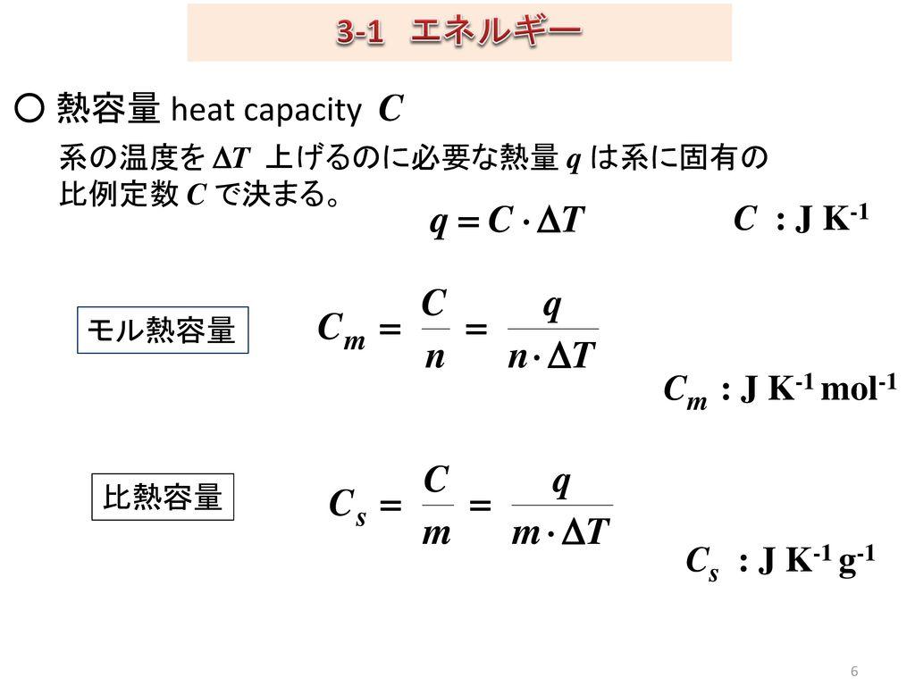 3-1 エネルギー ○ 熱容量 heat capacity C C : J K-1 Cm : J K-1 mol-1