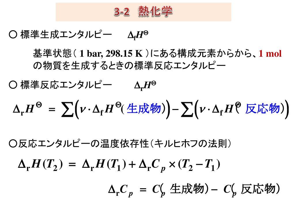 3-2 熱化学 ○ 標準生成エンタルピー DfH 基準状態( 1 bar, 298.15 K )にある構成元素からから、1 mol の物質を生成するときの標準反応エンタルピー ○ 標準反応エンタルピー DrH