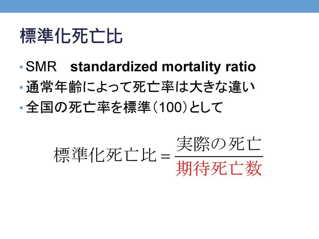 標準化死亡比 SMR standardized mortality ratio 通常年齢によって死亡率は大きな違い