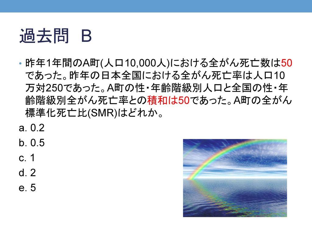 過去問 B 昨年1年間のA町(人口10,000人)における全がん死亡数は50であった。昨年の日本全国における全がん死亡率は人口10万対250であった。A町の性・年齢階級別人口と全国の性・年齢階級別全がん死亡率との積和は50であった。A町の全がん標準化死亡比(SMR)はどれか。