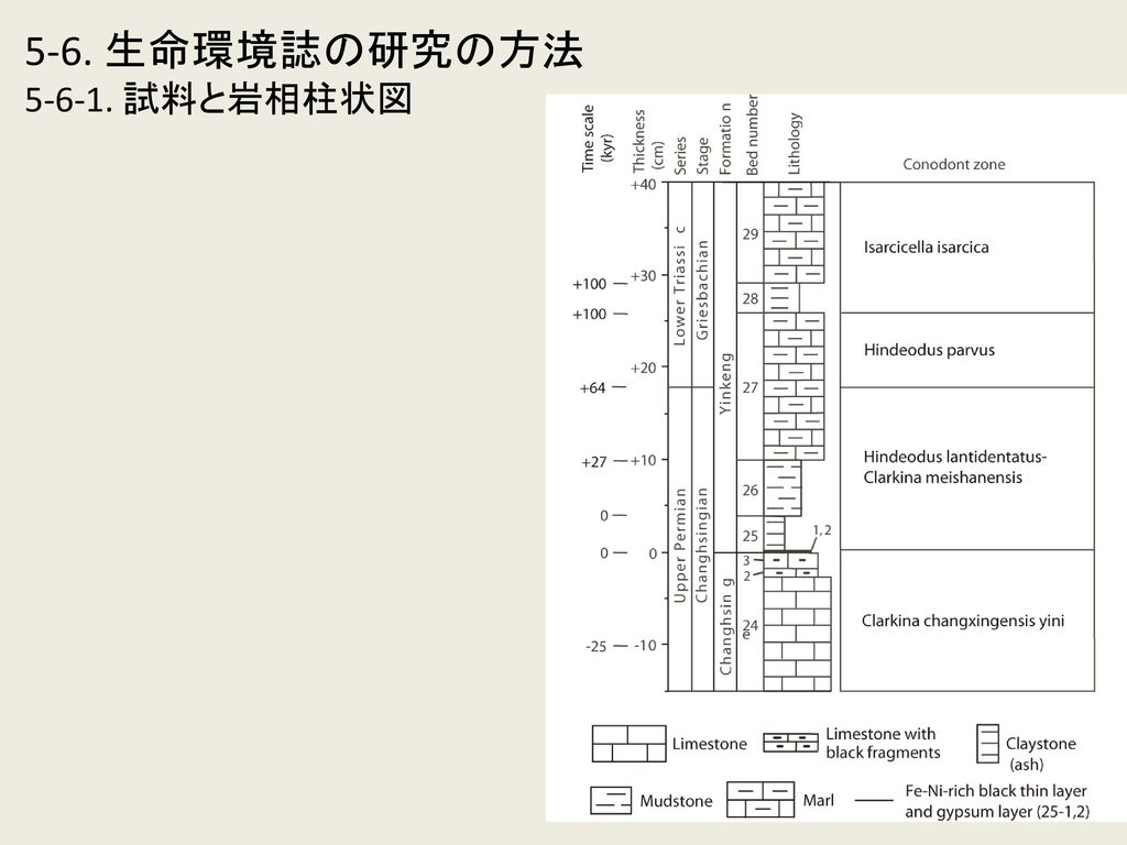 5-6. 生命環境誌の研究の方法 5-6-1. 試料と岩相柱状図