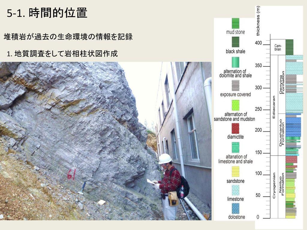 5-1. 時間的位置 堆積岩が過去の生命環境の情報を記録 1. 地質調査をして岩相柱状図作成