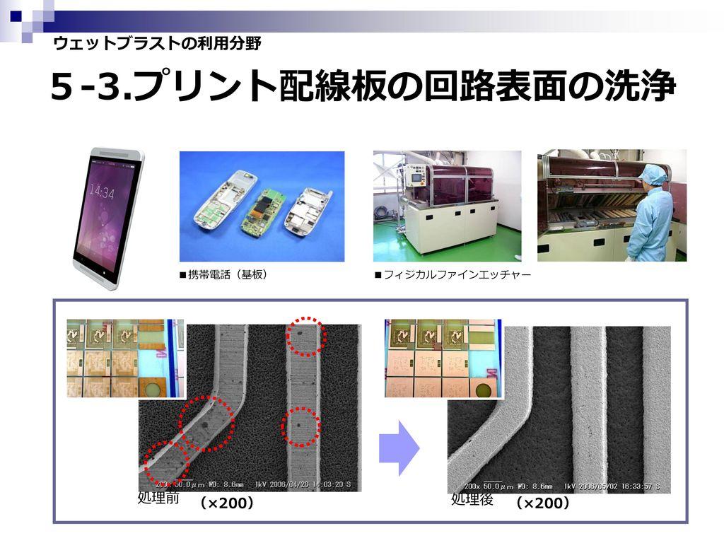 5-3.プリント配線板の回路表面の洗浄 ウェットブラストの利用分野 処理前 (×200) 処理後 (×200) ■携帯電話(基板)