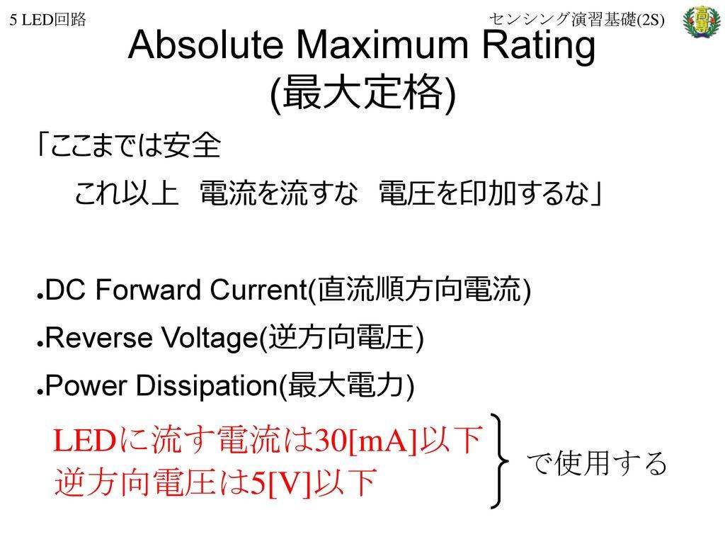 Absolute Maximum Rating (最大定格)