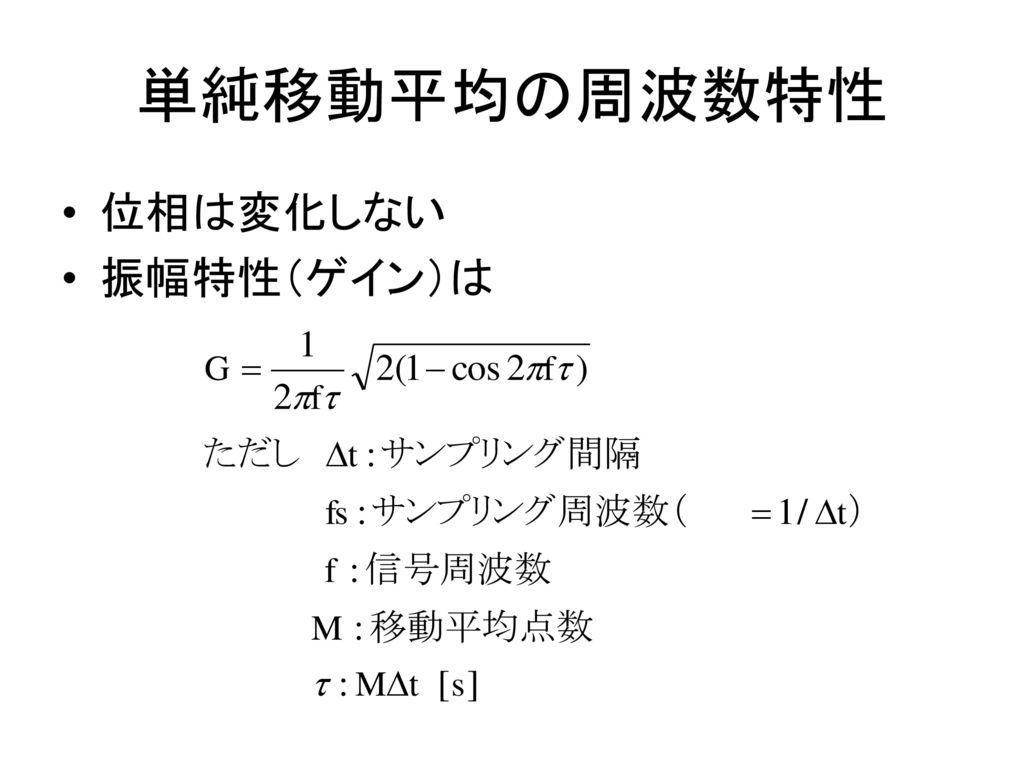 単純移動平均の周波数特性 位相は変化しない 振幅特性(ゲイン)は