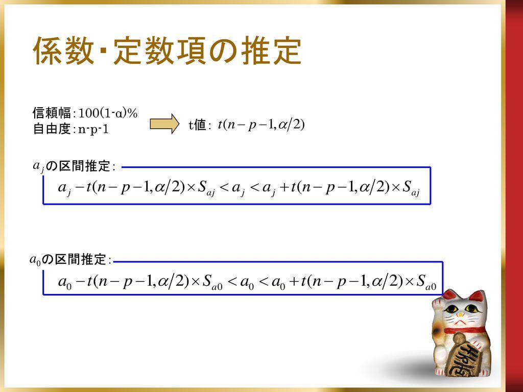 係数・定数項の推定 信頼幅:100(1-α)% 自由度:n-p-1 t値: の区間推定: の区間推定: