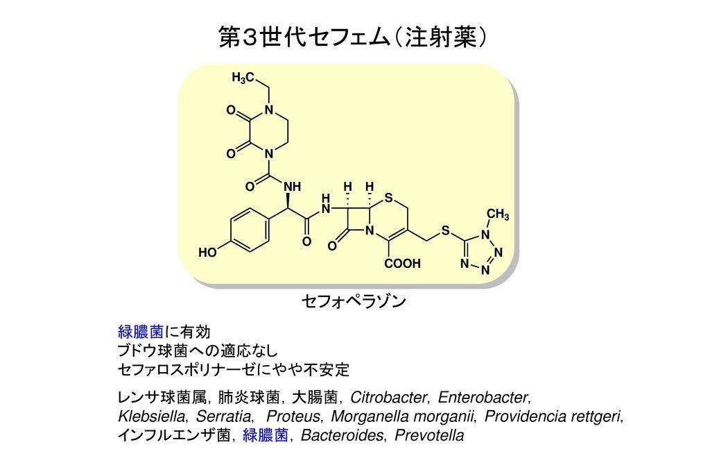 第3世代セフェム(注射薬) セフォペラゾン 緑膿菌に有効 ブドウ球菌への適応なし セファロスポリナーゼにやや不安定