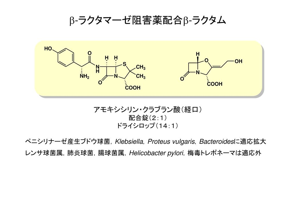b-ラクタマーゼ阻害薬配合b-ラクタム アモキシシリン・クラブラン酸(経口) 配合錠(2:1) ドライシロップ(14:1)
