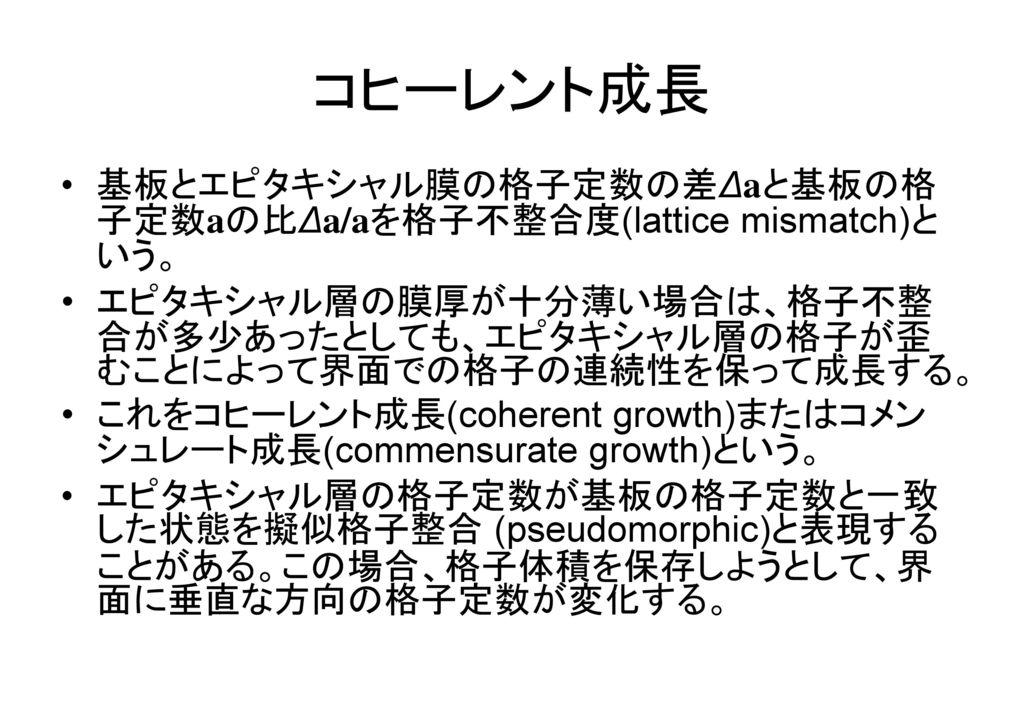 コヒーレント成長 基板とエピタキシャル膜の格子定数の差Δaと基板の格子定数aの比Δa/aを格子不整合度(lattice mismatch)という。